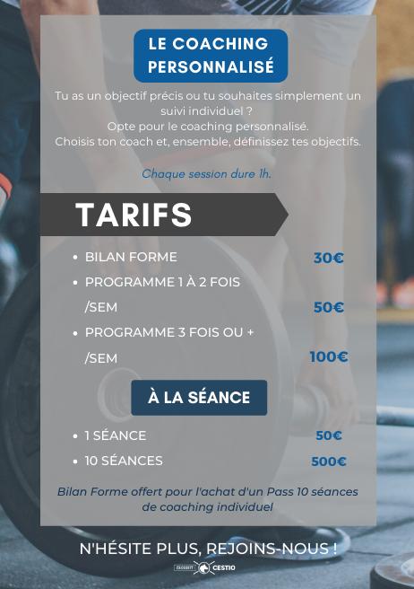 Tarifs Coaching individuel - CrossFit Cestio